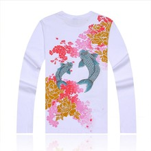 New Spring Men's T-shirt Chinese wind Carp Embroidery Peony Flower Tattoo T-shirt Original Tide Brand Men Clothes Tops Tee S-4XL(China)