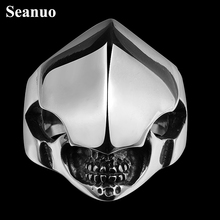 Seanuo Unique carving Templar Knight mask titanium steel ring for men jewelry fashion black wide horriblec ross Thumb biker ring
