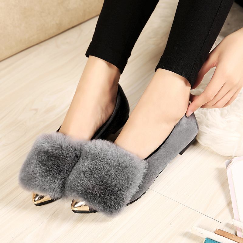 2017 New Designer Boat Shoes Real Fur Flat Shoes Cow Suede leather Women Winter Warm Loafers Ladies Fashion Loafer Shoes<br><br>Aliexpress