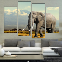 4 Pcs/Set Large Animals Elephant in National Park of Kenya Elephant Canvas Print Painting Modern Africa Wall Art Home Decor(China)