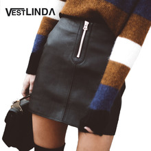 VESTLINDA Sexy Black Zipper Short Skirt Women High waist PU Leather Pencil Mini Skirt Ladies Vintage Retro Office Casual Skirts