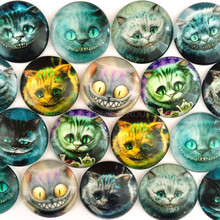 ZEROUP 20pcs/lot Round Cats Pictures Glass Dome Cabochon Mixed Pattern Fashion Ornament for DIY Flat Back Jewelry Finding(China)