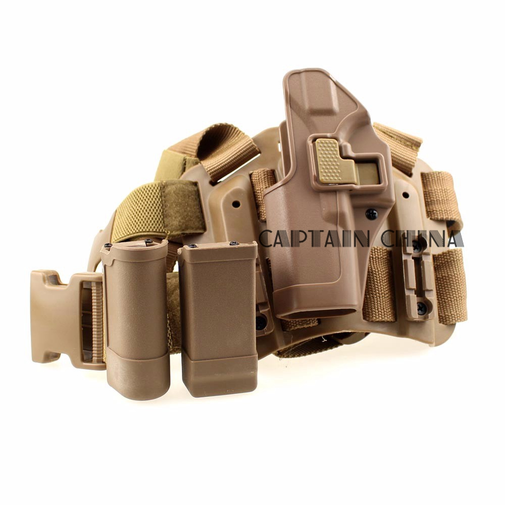 Black Tan Green Tactical holster Glock left leg thigh holster PISTOL W / magazine pouch  for Glock 17 19 22 23 31<br>