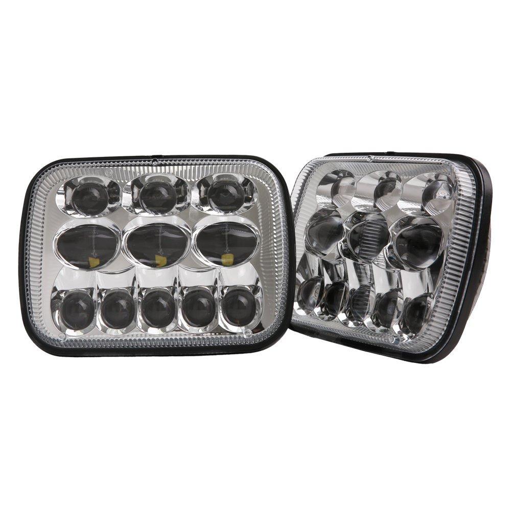 5x7 DOT 7x6 inch LED Headlights with Cree Chip Headlamps Bulbs Projector Headlight Lights Lamps Set Kit for Jeep Cherokee XJ Wrangler YJ Comanche MJ Toyota Tacoma Pickup MR2 Supra Nissan 240SX Chrome