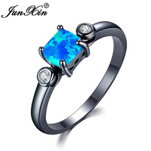 JUNXIN Fashion & Simple Square Blue/Orange/Pink/White Fire Opal Rings For Women Men Black Gold Filled Zircon Rainbow Jewelry(China)