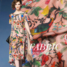 140cm width flower birds printed soft silk crepe fabric.100% Mulberry silk fabric dress shirt fabric clothing tissue pink color