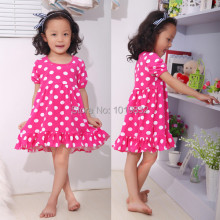 2014 Latest Sweet Girl Dress Design,Hot Pink With White Polka Dot Dress,High Quality Casual Dress 100% Cotton