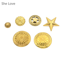 She Love Solid Brass Concho Flower Star Rivet Stud Punk Screw Back Antique Decorated Concho DIY Wallet Bag Decor
