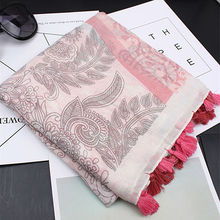 Fashion luxury floral tassels scarf/scarves print hijabs women muffler hot sale foulard pashmina bandana wraps high quality(China)