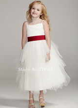 Top elegant white ivory flower girl dress with red sash cheap price custom make baby girl pageant dresses spaghetti straps dress