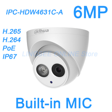Dahua 6MP H.265 IP Camera PoE Built-in mic IPC-HDW4631C-A IR security cctv Dome Camera onvif HDW4631C-A English firmware(China)