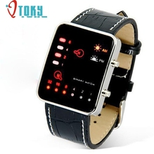 Hothothot LED Watch Digital Red Sport Wrist Binary Wristwatch PU Leather Women Mens P14 Dropshipping