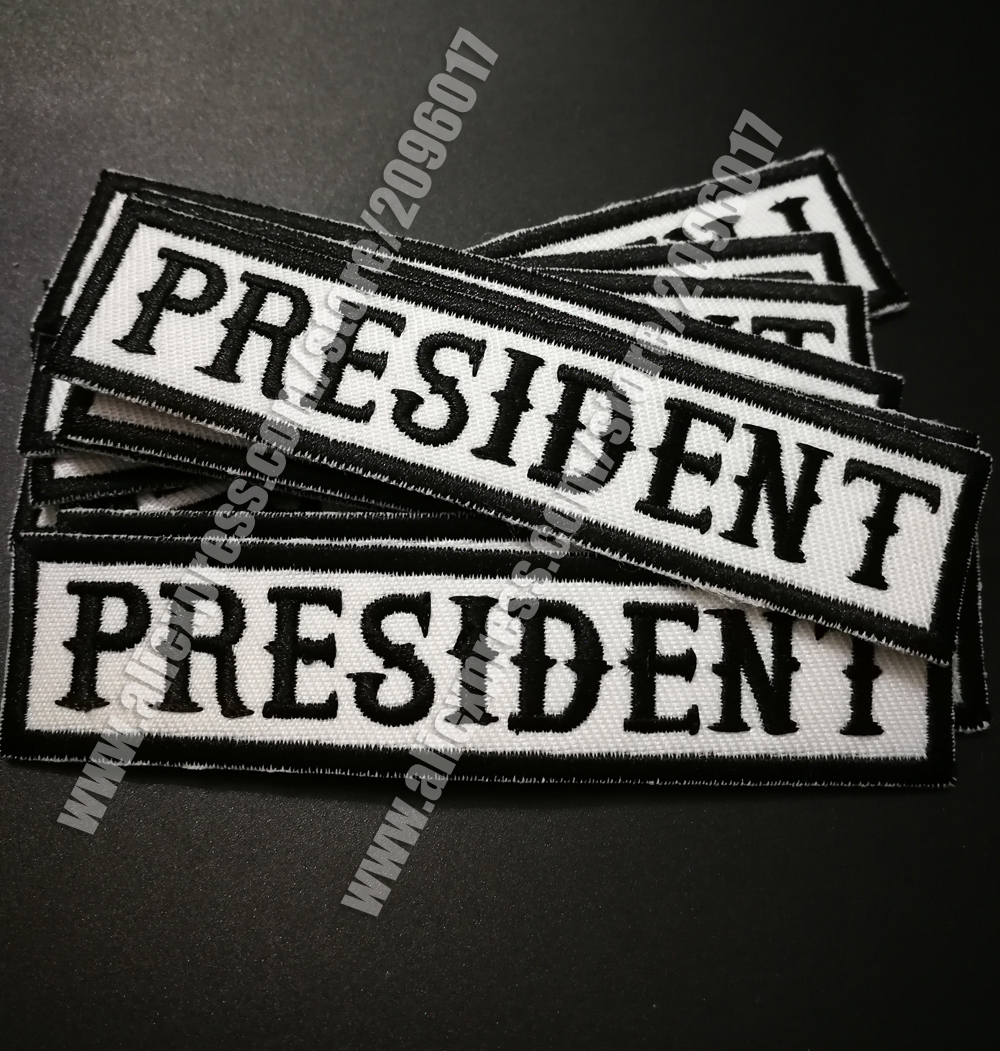 PRESIDENT Black on White Small Badge for Biker Vest Motorcycle Patch