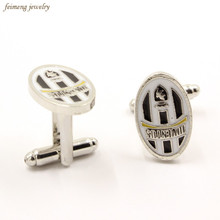 Italy Style Juventus Football Club Logo Cuff Links Top Grade Enamel Silver Cufflinks For Mens Friend Gifts Brand Cuff Buttons(China)