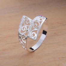 hot cheap silver plated rings for lady women party vintage hollow jewellery silver plated girl finger rings wholesale in bulk