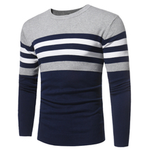 Sweater Men 2017 Brand Pullovers Casual Sweater Male O Collar Stripe Simple Slim Fit Knitting Mens Sweaters Man Pullover Men S(China)