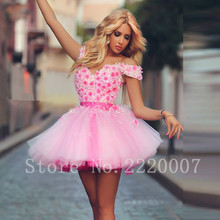 Charming Mini Girls Cocktail Dresses Sexy V Neck Ball Gown Party Dresses Cap Sleeve Organza Cheap Appliques Prom Dress
