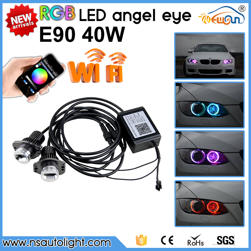 Free Shipping.2Pcs/Set RGB LED Marker Angel Eyes Kit for BMW E90 E91 sedan/wagon canbus no error wifi led angel eyes rings<br><br>Aliexpress