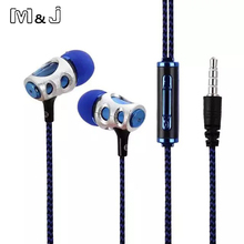 M&J M14 In Ear Skull Earphone Bass Studio Monitor Stereo Headset Music Super Deep Earbud With Microphone For PC iPhone Samsung(China)
