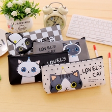 Cute Pencil Case School Pencil Case Cat Korean Stationery Jelly PU Pencilcase for School Supplies Korea Pencil Case for Girls