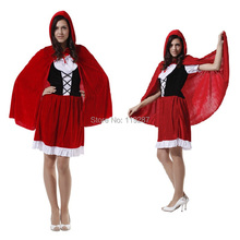 Women holiday dress cape adult little red riding hood cosplay costume female fantasia halloween costumes for 155-170cm women(China)