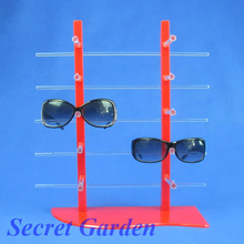 Wholesale High Quality Plastic Red Sunglass Glasses Display Stand Holder Rack For 10 Pairs(China)