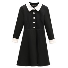 Autumn A-line Dress Turn-Down Collar Women Elegant Long Sleeve Party Dresses Pleated Vintage Dresses With buttons Vestido 1001(China)