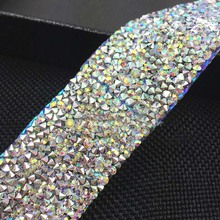 Free shipping,Crystal AB Rhinestone Trimming,1yard/lot,width 3cm,Bridal Dress Belt rhinestone banding,wedding decorative banding