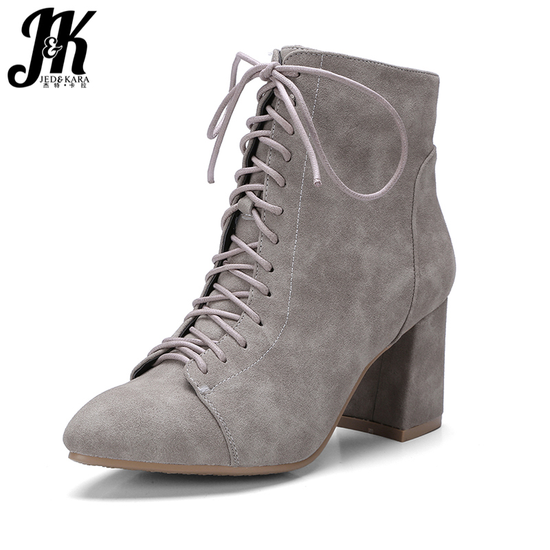 J&amp;K 2018 Plus Size 32-42 Cross tied Ankle Boots Women Zipper Pointed toe Shoes Woman Thick High Heels Winter Boots Leisure Shoes<br>