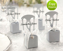 FREE SHIPPING! 50PCS  Mini Silver Chair Candy Box with Heart Charm Wedding Favors Party Gifts Party Reception Table Decor Ideas