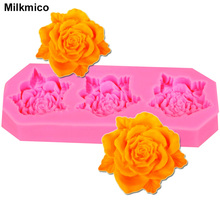 Milkmico M086 Hot Selling Flower Silicone Rose Cake Mold And Leaf Chocolate Molds For Kitchen Dining Dar Cake Decorating(China)