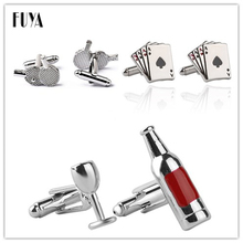 Ping Pong Paddle 4A Playing Cards Poker Cuff Links Button Glass&Bottle Cufflinks For Mens High Quality Sport French Suit Shirt