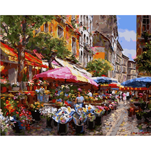 Unique Gifts 40x50cm Ms8741 prosperous flower market The frameless Picture Digital Oil Painting On Canvas Home Decoration