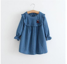 Y61258037 2017 Spring Baby Dress Girls Dress Jeans Solid Fashion Appliques Cherry Princess Dress Girl Clothes Baby Girl Dress