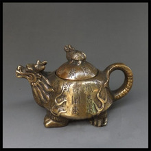 Pure copper dragon turtle pot of furnishing articles The kettle pot antique plates Decorative art gift Antique collectibles