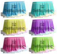 2M lot Ice Silk Table Skirt With Tutu Swag Drape For Wedding Event Decoration(China)
