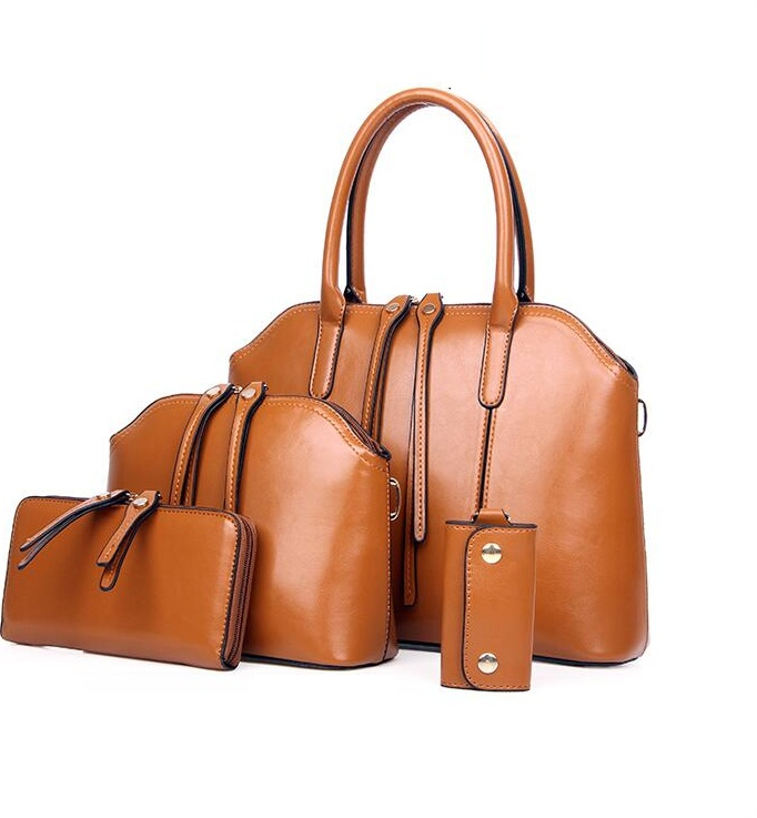 HOT 4PCS/SET Super PU Leather bag women-messenger-bags Casual totes+ Handbag+ Purse  composite bag Free Shipping <br>