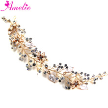 Free Shipping Beaded Gold Blossom Wedding Bridal Party Hair Jewellery Hair Vines Prom Dress Accessories Dancing Jewellery(China)