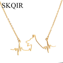 SKQIR News Jewelry Love Dogs And Medical Heartbeat Pendant Stainless Steel Gold Silver Color Animal Necklaces For Women Gift(China)