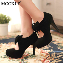 MCCKLE 2017 Ladies Bowtie Zip Wedding Party Sexy High Heels Woman Platform Black Plus Size Shoes Female Fashion Autumn Pumps