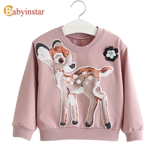 Babyinstar Sequined Deer Kids Girls T-shirt Baby Girl Clothes Children Long Sleeve T Shirt Camiseta Roupas 2018 Kids Top Shirts(China)