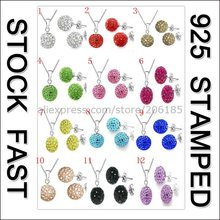 JEXXI Fast   11 Colors Shamballa Disco Austrian Crystal 925 Stamped Jewelry Stud Earrings Pendant Necklaces Gift Sets