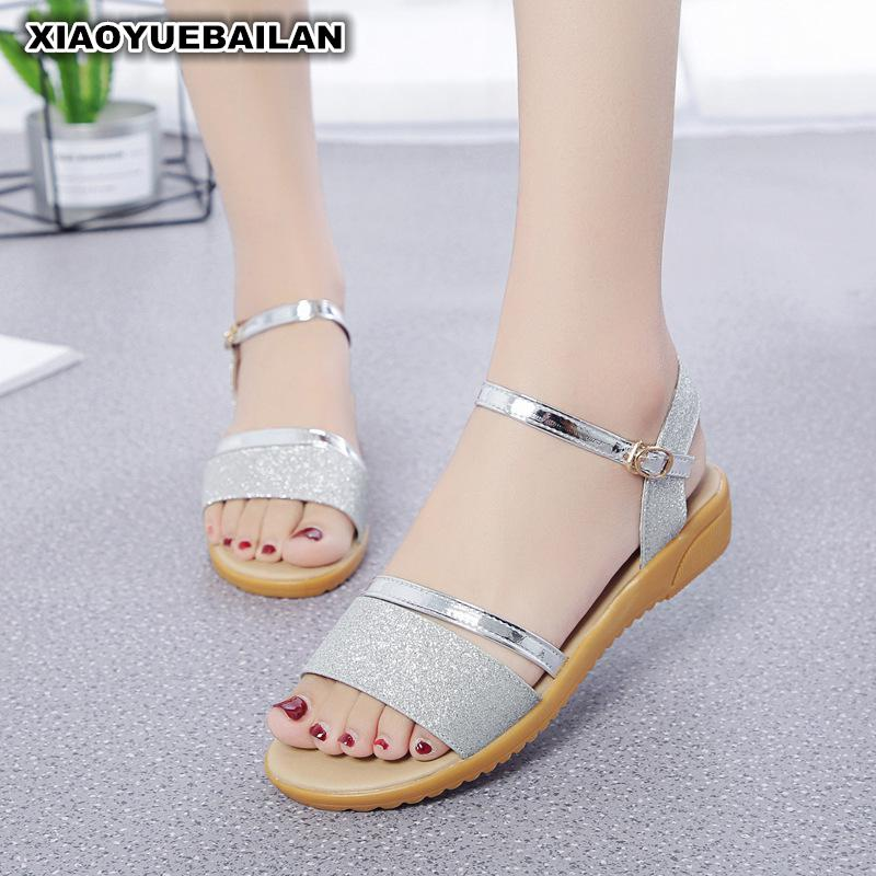 Low Heels Sandals Female Summer 2017 New All-match Word Buckle Shoes Rome Students A Cool<br>