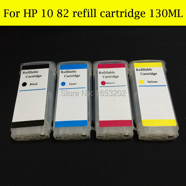 Empty Refillable Ink Cartridge (130ML) For HP10 82 cartridge C4844A C4911A C4912A C49113A for hp 500 800 with arc chip<br><br>Aliexpress