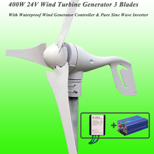 Great Discount 3 Blades 400W 24V Wind Turbine Generator With Waterproof Wind Generator Controller & 600W Pure Sine Wave Inverter
