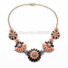 New 2014 Brand Fashion Personality Orange Green Flower Pendant All-match Women's Accessories Choker Necklace
