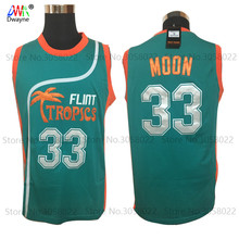 2017 Dwayne Mens Cheap throwback basketball jerseys Semi Pro Jackie Moon Jersey Flint Tropics Basketball Shirts Sewn Green White
