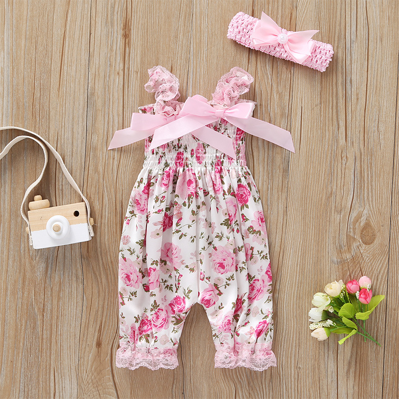 floral sleeveless Suspenders jumpsuit+headband bowknot pink for baby girl set summer 2019 newborn clothes new born outfit
