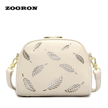 ZOORON Hollow Out Shell Small Fresh Women Bag Casual Small Cube Bag 2017 Women PU Leather Bag Women fashionable Messenger Bags