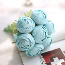 1 Bunch Blue Lotus flower Silk Artificial Flower Home Celebrations Wedding Garden Public places Party Festival Decor 25cm